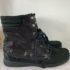 Sperry Topsiders Black Hikerfish Glitter Boot 10M